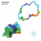 Abstract vector color map of Rwanda with transparent paint effect.