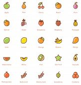 stock photo of glyphs  - Set of the fruits related icon - JPG