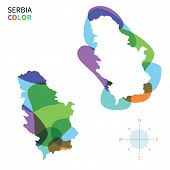 Abstract vector color map of Serbia with transparent paint effect.