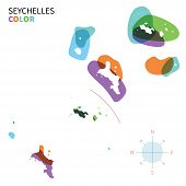 Abstract vector color map of Seychelles with transparent paint effect.