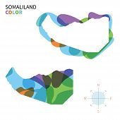 Abstract vector color map of Somaliland with transparent paint effect.