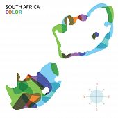 Abstract vector color map of South Africa with transparent paint effect.