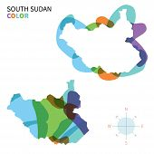 Abstract vector color map of South Sudan with transparent paint effect.