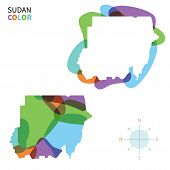 Abstract vector color map of Sudan with transparent paint effect.