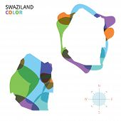 Abstract vector color map of Swaziland with transparent paint effect.