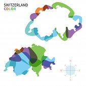 Abstract vector color map of Switzerland with transparent paint effect.