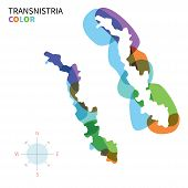 Abstract vector color map of Transnistria with transparent paint effect.