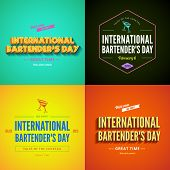 International Bartender's Day Typography lettering poster design vector templates set. Vintage retro style.