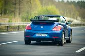 VW Beetle cabriolet on German Autobahn