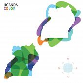 Abstract vector color map of Uganda with transparent paint effect.