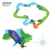 Abstract vector color map of Ukraine with transparent paint effect.