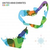 Abstract vector color map of United Arab Emirates with transparent paint effect.
