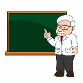 Illustration Of A Professor Or Teacher At A Chalkboard.