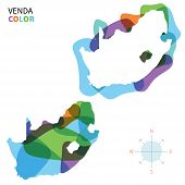 Abstract vector color map of Venda with transparent paint effect.