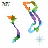 Abstract vector color map of Vietnam with transparent paint effect.