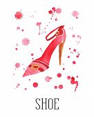 Watercolor women's shoe with drops