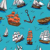 Ships and boats sketch seamless pattern