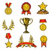 Award icons set colored