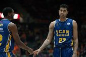 VALENCIA, SPAIN - JANUARY 24: Kelati (L) and Lima during Spanish League match between Valencia Basket Club and UCAM Murcia at Fonteta Stadium on January 24, 2015 in Valencia, Spain