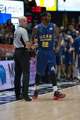 VALENCIA, SPAIN - JANUARY 24: Referee (L) and Kelati during Spanish League match between Valencia Basket Club and UCAM Murcia at Fonteta Stadium on January 24, 2015 in Valencia, Spain