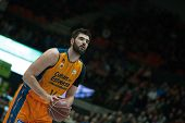 VALENCIA, SPAIN - JANUARY 24: Dubljevic during Spanish League match between Valencia Basket Club and UCAM Murcia at Fonteta Stadium on January 24, 2015 in Valencia, Spain