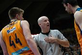 VALENCIA, SPAIN - JANUARY 24: Referee (C) Harangody (44) and Martinez during Spanish League match between Valencia Basket Club and UCAM Murcia at Fonteta Stadium on January 24, 2015 in Valencia, Spain