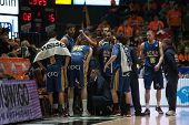 VALENCIA, SPAIN - JANUARY 24: UCAM Murcia team during Spanish League match between Valencia Basket Club and UCAM Murcia at Fonteta Stadium on January 24, 2015 in Valencia, Spain