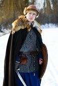 image of reconstruction  - young man historical reconstruction warrior of ancient Russia - JPG
