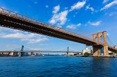 Brooklyn and Manhattan bridges from East River New York US