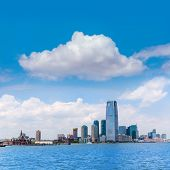 New Jersey city skyline from Hudson river New York US