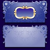 Vector blue invitation card with frame