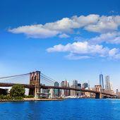 Brooklyn Bridge and Manhattan skyline New York city sunshine US