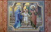 BAD ISCHL, AUSTRIA - DECEMBER 14: Holy Family, parish church of St. Nicholas in Bad Ischl, Austria on December 14, 2014.