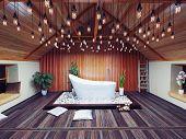 beautiful bath in the attic in the night. 3d design concept