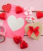 Chocolate Hearts And Colorful Gift Bag