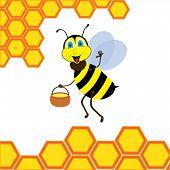 Cartoon bee with brimful jar