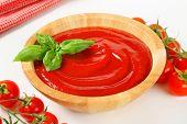 Bowl of smooth tomato passata