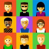 Vector illustration of funny cartoon faces.