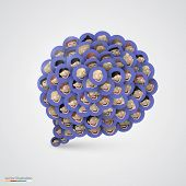 Blue speech bubble made of smiling faces.