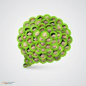 Green speech bubble made of smiling faces.