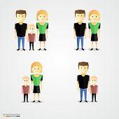 Family colorful cartoot icon set.