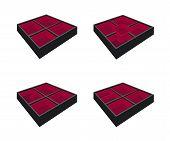Four Empty Bento Box on White Background