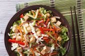 Salad Of Tofu With Fresh Vegetables Horizontal Top View