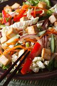 Healthy Salad With Tofu And Fresh Vegetables Macro Vertical