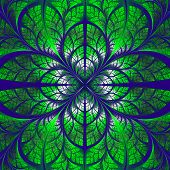 Symmetrical Pattern Of The Leaves In Blue And Green. Collection - Tree Foliage. Computer Generated G
