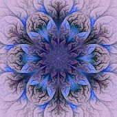 Beautiful Fractal Flower In Blue And Gray. Computer Generated Graphics.