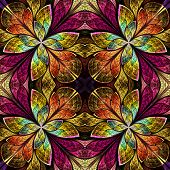 Symmetrical Pattern In Stained-glass Window Style. Green, Yellow And Brown Palette. Computer Generat