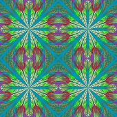 Symmetrical Pattern In Stained-glass Window Style. Green, Red And  Blue Palette. Computer Generated