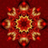 Symmetrical Fractal Pattern With Shiny Strips. Collection -  Rhinestones. On Red Background.
