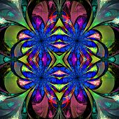 Pattern From Fractal Flowers. Darkblue, Green And Purple Palette. Fractal Design. Computer Generated